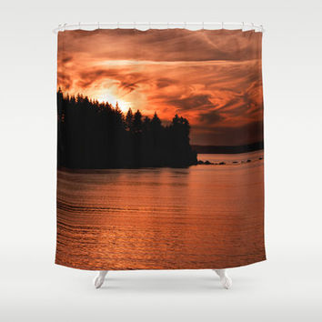 Sunset Shower Curtain, Nautical Shower Curtain, Nature Shower Curtain, Orange Shower Curtain, Ocean Shower Curtain, Red Shower Curtain