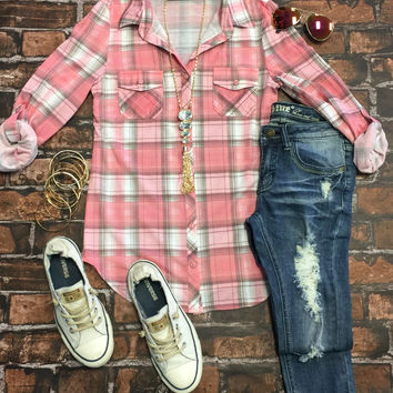 Penny Plaid Flannel Top: Blush