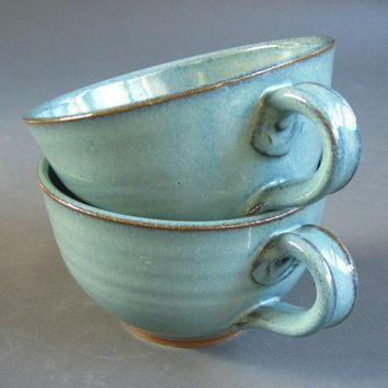 Set 4 Soup Chowder Bowl Green Pottery Stoneware Handles Chili Mug Cup | TheMudPlace - Housewares on ArtFire