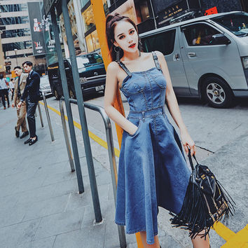 denim sundress women 2017 Sexy suspender Blue denim overall dress vintage backless spaghetti strap midi Flare jeans vesitos