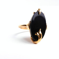 Black Glass Ring  Vintage Size 8 Costume Jewelry by MaejeanVINTAGE