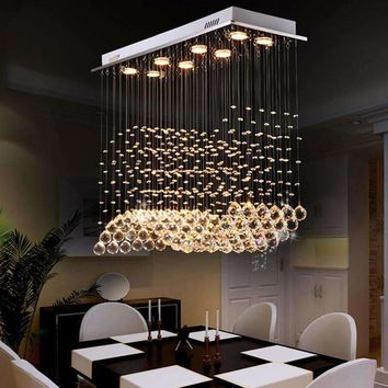 VALLKIN Modern Ceiling Crystal Chandeliers Pendant Lamp Lighting Fixtures for Dining Room Hotel with L80CM W30CM H70CM VDE CE UL