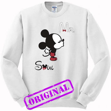 3 Mickey Kissing Minnie + Mr for men for sweater white, sweatshirt white unisex adult