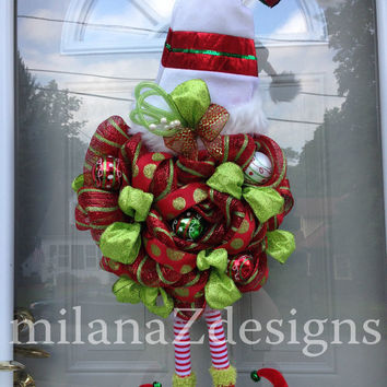 Red and Green Deco Mesh Wreath, Chrismas Elf with Legs, Xmas Santa Hat Decorations, Shatterproof Ornaments Mesh Wreath, Santa Claus Wreath