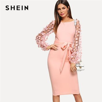 1fbb775d0 SHEIN Pink Elegant Party Flower Applique Contrast Mesh Sleeve Fo