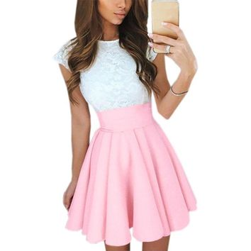 New Kawaii Lace Dress Mini 2019 Summer Bowknot Lace Patchwork Women Dresses Prom Kawaii Fit Flare Party Dress Robe Mujer GV651