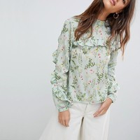Vila Floral High Neck Blouse at asos.com