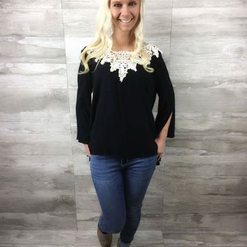 Crochet Bell Sleeve in Black - CLOSEOUT