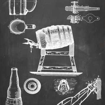 Brewery Equipment Patent Print - Patent Poster - Beer Bottle - Bottle Patent - Faux Vintage