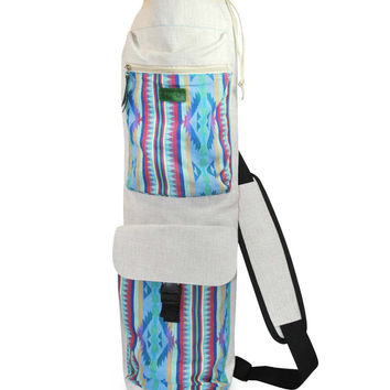 Mato Yoga Mat Bag Canvas Woven Boho Pattern Off White with Front pockets