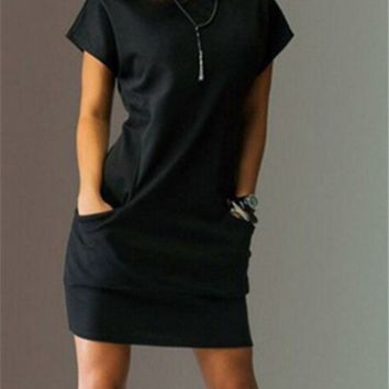 Pure Color Round Neck Dress With Pockets