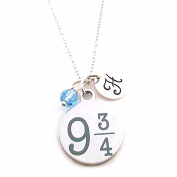 9 and 3/4 Harry Potter Charm Necklace - Personalized Sterling Silver Jewelry