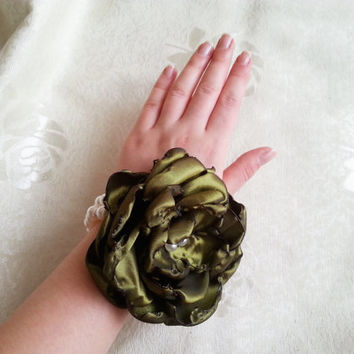 Wrist Corsage, olive green satin flower, bridesmaid Corsage hand made silk flower faux pearls bracelet