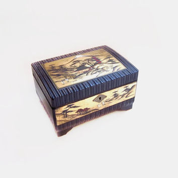 Vintage Jewelry Box, Music Box, Painted Wood Lacquer