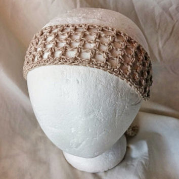 Spring Crochet headband Tan cotton linen neck tie Summer colors head scarf Bohemian  hair accessory Rockabilly scarf