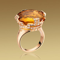 PARENTESI COCKTAIL ring in 18kt pink gold with coloured gemstone and pavé diamonds. - size 52