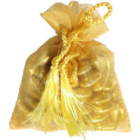 Favor Bag Gold Organza Bag with Tassel Drawstrings 3 x 4 Perfect for Parties, Wedding or Jewelry