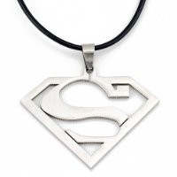 Stainless Steel Superhero Superman Pendant Necklace