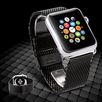Black For Apple Watch Band 38/ 42mm Classic Buckle Smart Watch Band Stainless Steel Wrist Band Watch Strap For iPhone Watch Band
