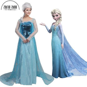 Elsa Queen Adult Cosplay Costume Dress For Halloween Party Women Girls Dress Free Shipping