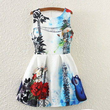 Vintage Print Slim Sleeveless Vest Dress One Piece Dress [4919356100]