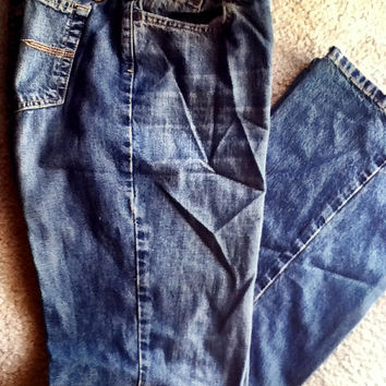 Blue Jeans Denim Pants Express Brand Vintage 100% Cotton 'Hipster Flare' Size 7/8 Assembled in USA Medium Wash Distressed