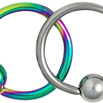 "Set of 2 Styles Cartilage Hoop Earrings: 18g 5/16"" Surgical Steel Plain & Rainbow CBR Hoops"