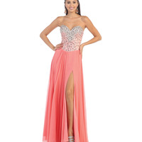 Peach High Slit Crystal Embellished Bodice Gown 2015 Prom Dresses