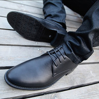 New Arrival Men's Casual British PU Leather Crack Shoes Flats Shoes Men Brand Business Dress Shoes Size 38-43