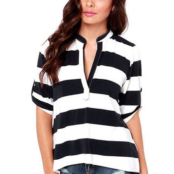 Striped Pattern Half Sleeve Blouse