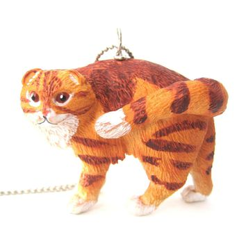 Orange and White Manx Tabby Kitty Cat Animal Plastic Pendant Necklace | Animal Jewelry