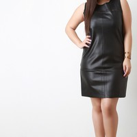 Perforated Vegan Leather Sleeveless Trapeze Dress