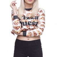 Pizza Queen Crop Hoodies