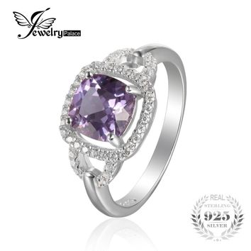 JewelryPalace Fashion 2.5ct Square Created Alexandrite Sapphire 925 Sterling Silver Wedding Ring For Women Vintage Fine Jewelry