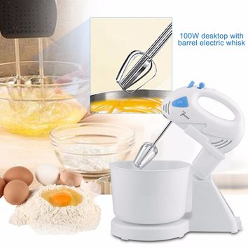 2017 Dual-function Table Electric Food Mixer With Bowl Table Handheld Eggs Beater Blender With 7 Speed Automatic Whisk EU Plug