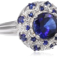 Sterling Silver Created Sapphire Oval Basketweave Ring, Size 7