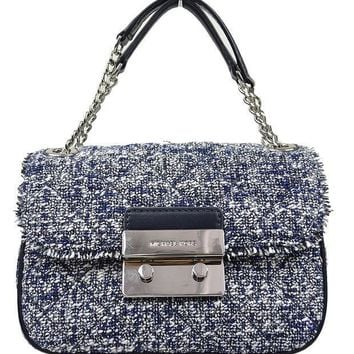 ESBON Michael Kors Women's Sloan Boucle Tweed Quilted Small Shoulder Bag Admial Navy