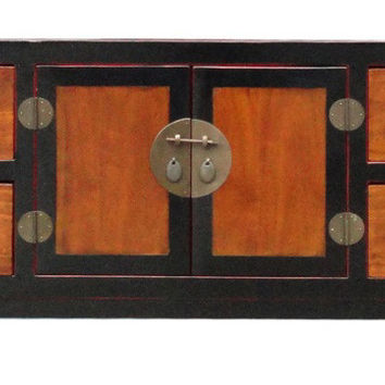 Chinese Black Brown Tone Low TV Console Cabinet cs1143S