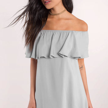 Don't Be Shy Off Shoulder Shift Dress