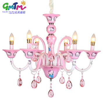 GMTM New design Modern Little Girl living room chandelier bedroom lamp lighting pink Hello Kitty crystal lustre E14 candle light