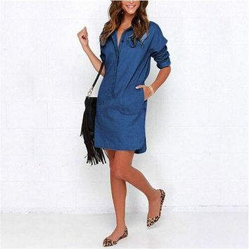 132c1522b54e Women Denim Shirt Dress Summer Irregular shirt dress Long Sleeve