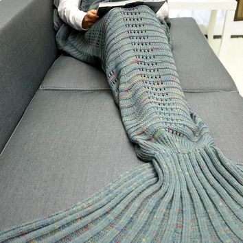 Crochet Knit Wave Striped Mermaid Blanket Throw