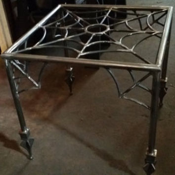 Spider web,end table,halloween, coffee table, goth, gothic furniture,metal table base, metal end table ,the munsters,the adams family,tattoo