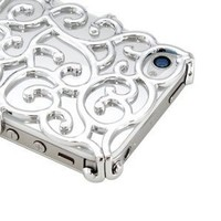 Luxury Silver Chrome Electroplating Hollow Pattern PC Hard Back Case Cover