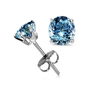 14k White Gold Round Blue Crystal Diamond Stud Earrings