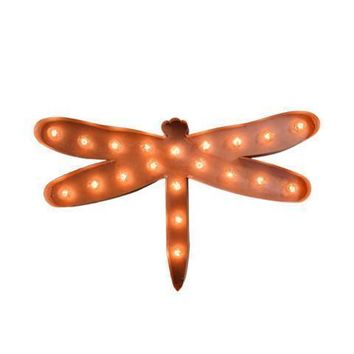Dragonfly Vintage Marquee Lights Sign (Rustic)