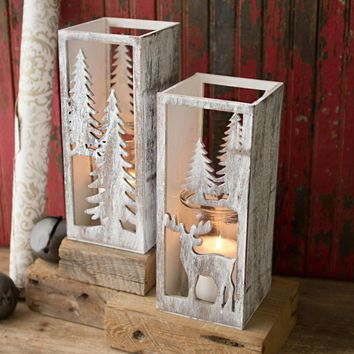 Wooden Christmas Candle Holders With Glass Inserts ~ Tall (Set of 2)