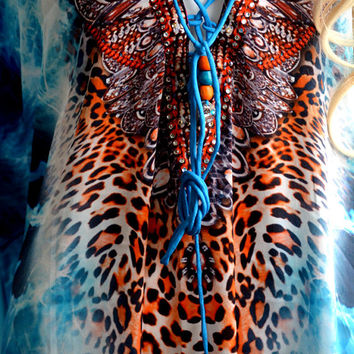 Beautifully embellished blue kaftan dress animal print caftan kaftan maxi dress relaxed fit lace up dresses