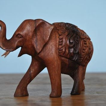 Handmade Elephant Wood Carving