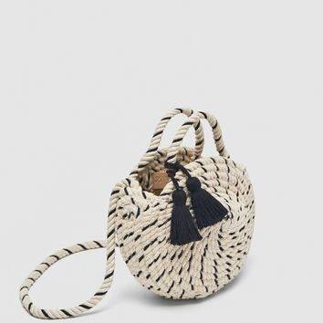 BRAIDED COTTON MINI TOTE BAG DETAILS